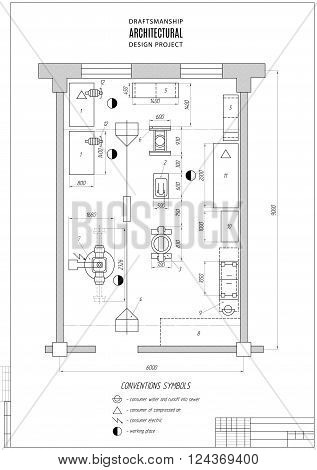 design architectural plan or project technical drawing construction plan with vertical frame on the white background. stock vector illustration eps10