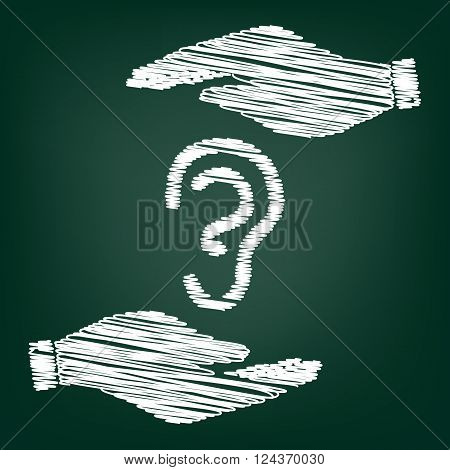 Human ear sign. Flat style icon with scribble effect