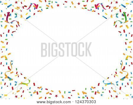 Colorful confetti and streamers. Background vector illustration isolated