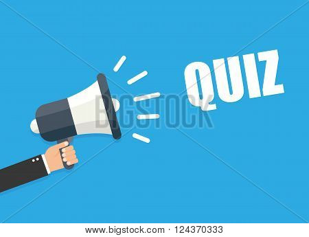 Hand holding megaphone - Quiz vector illustration isolated