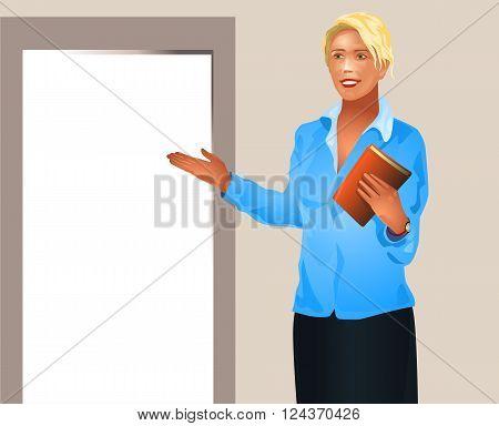 Vector illustration of a businesswoman invites enter