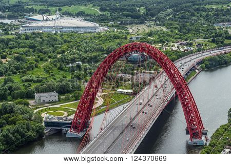 MOSCOW - JUN 13, 2014: Zhivopisny Bridge is cable-stayed bridge that spans Moskva River in north-western. It is first cable-stayed bridge in Moscow, opened on 27 December 2007