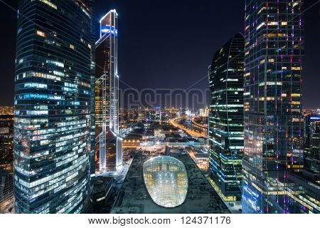 MOSCOW, RUSSIA - MAR 27, 2014: Complex Central Core of business complex Moscow City at night. Investments in project Central Core - 300 million dollars