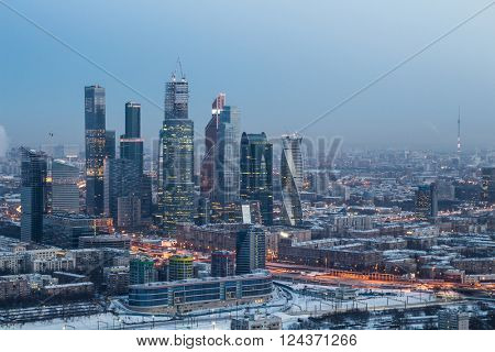 MOSCOW - DEC 30, 2013: Moscow International Business Center at winter. Investments in Moscow International Business Center was approximately 12 billion dollars