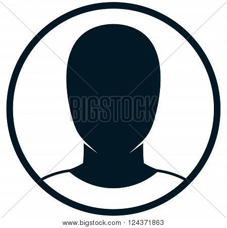 Man head silhouette vector icon isolated on white