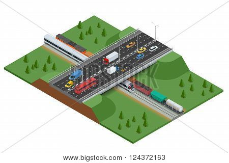 Railroad and bridge with traffic. Transport car, urban and asphalt, traffic. Isometric 3d vector illustration for infographics