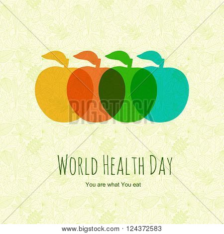 Apples on abstract background with leaves. World health day background. Vector illustration.