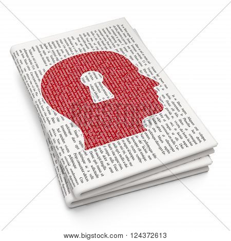 Finance concept: Head With Keyhole on Newspaper background