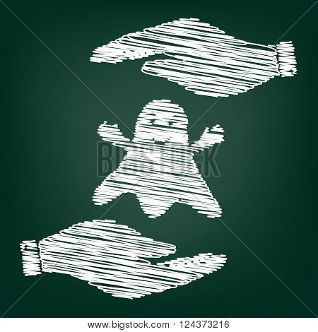 Ghost isolated sign. Flat style icon with scribble effect