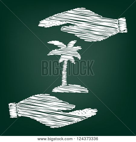 Coconut palm tree sign. Flat style icon with scribble effect