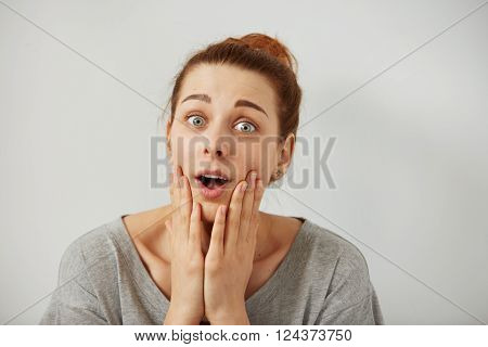 Surprise Astonished Woman. Closeup Portrait Woman Looking Surprised In Full Disbelief  Wide Open Mou