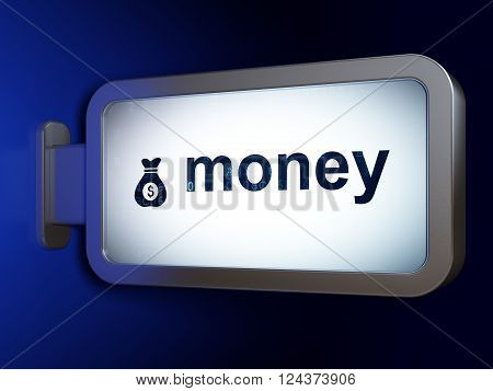 Business concept: Money and Money Bag on billboard background
