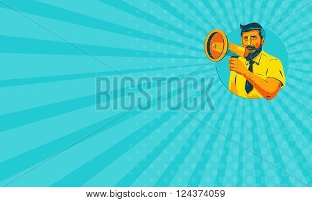 Business card showing WPA style illustration of bearded hipster man holding megaphone viewed from front set inside circle on isolated background.