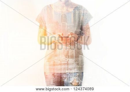 Closeup Photo Of Stylish Girl Wearing Blank T-shirt And Looking Cell Phone. Double Exposure, Panoram
