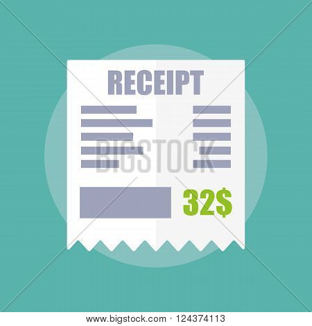 Receipt icon flat design vector illustration isolated