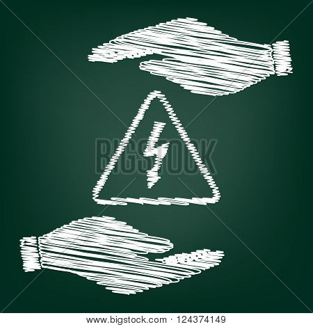 High voltage danger sign. Flat style icon with scribble effect