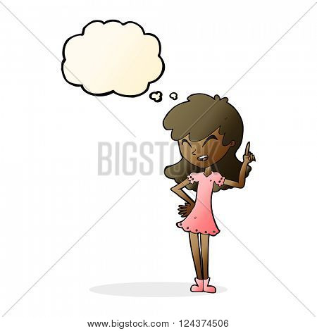 cartoon girl making point with thought bubble