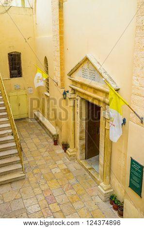 NAZARETH ISRAEL - FEBRUARY 21 2016: The view on the courtyard of the Greek Catholic Synagogye-Church on February 21 in Nazareth.