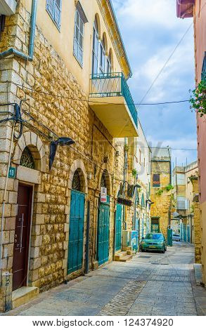 NAZARETH ISRAEL - FEBRUARY 21 2016: The popular pilgrimage city boasts huge mansions in european style on February 21 in Nazareth.