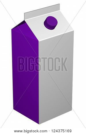 Carton of milk isolated on white background. 3D render.