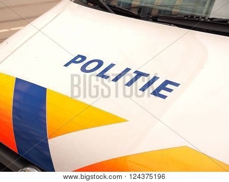 The Hague Netherlands - March 27 2016: Dutch Police vehicle front in a street.