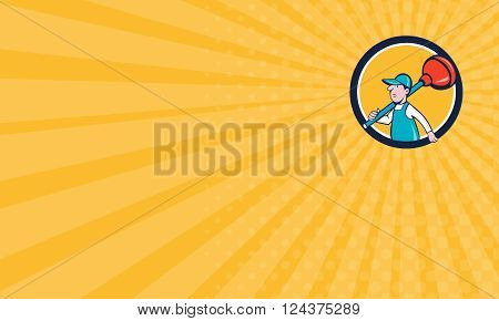 Business card showing illustration of a plumber carrying plunger on shoulder walking viewed from the side set inside circle done in cartoon style on isolated background done in cartoon style.