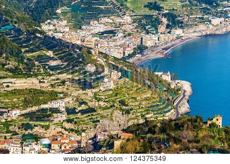 View of Minori and Maiori towns on the Amalfi Coast - Italy