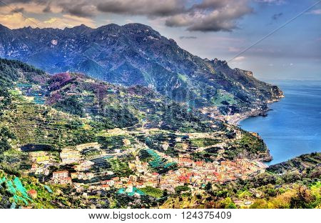 View of Minori village on the Amalfi Coast in Italy