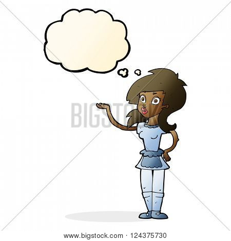 cartoon pretty waitress with thought bubble