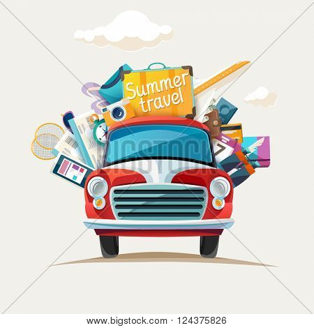 Summer travel  illustration with car.