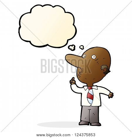 cartoon bald man asking question with thought bubble