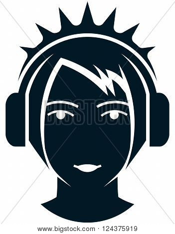 Girl face head in headphones illustration isolated