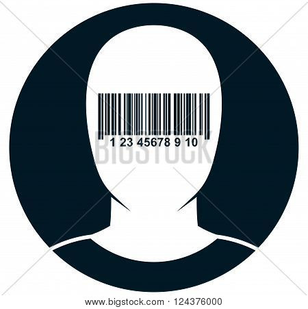 New world order. Blinded dazzled by globalization. Blind-folded man. Human face in barcode blindfold vector illustration