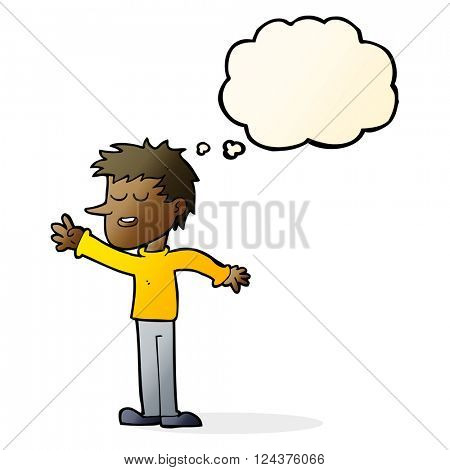 cartoon happy man reaching with thought bubble