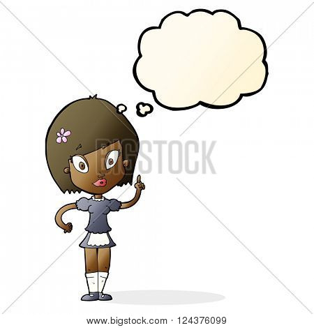 cartoon pretty maid with thought bubble