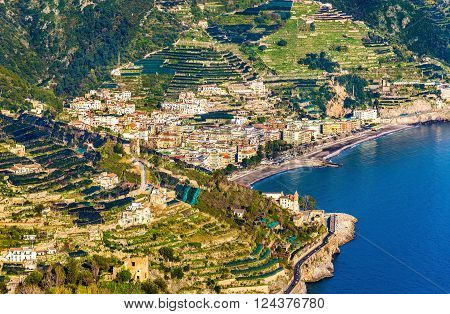 View of Maiori town on the Amalfi Coast - Italy