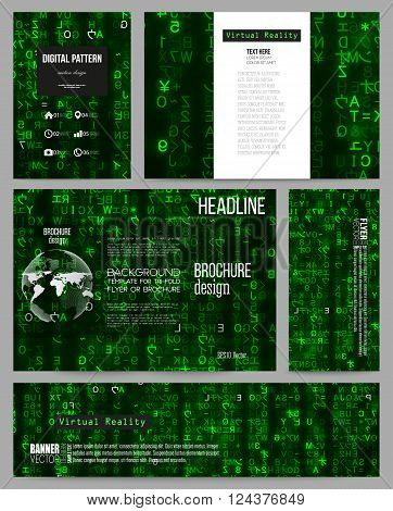 Set of business templates for presentation, brochure, flyer or booklet. Virtual reality, abstract technology background with green symbols, vector illustration.