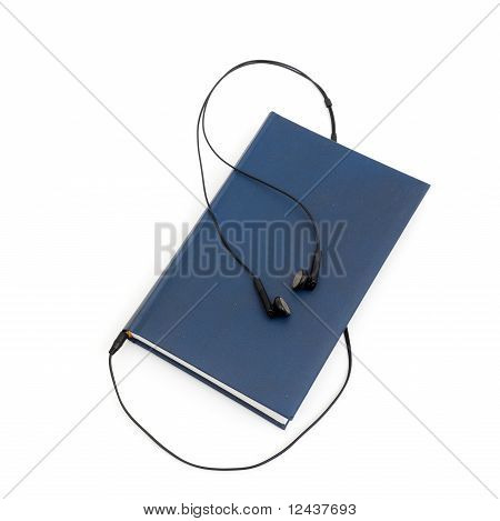 headphones and books (audio book concept)