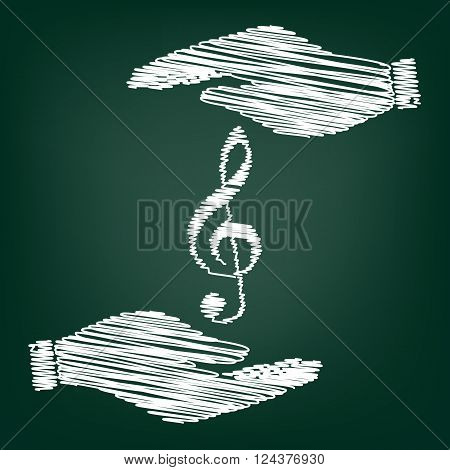 Music violine clef sign. Flat style icon with scribble effect