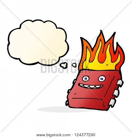 cartoon red hot computer chip with thought bubble