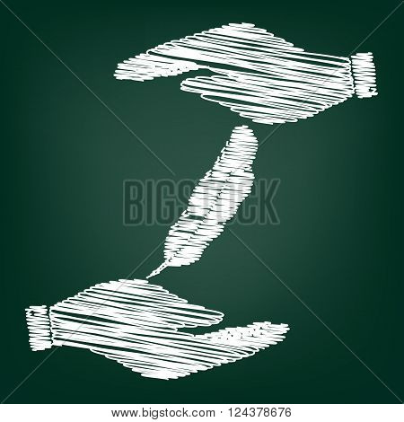 Feather sign. Flat style icon with scribble effect