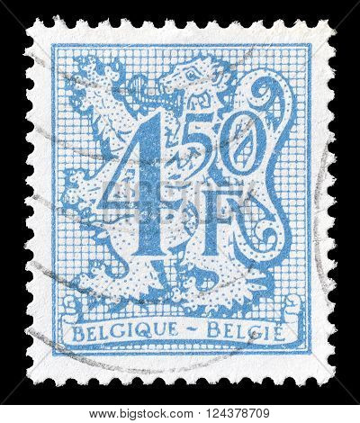 BELGIUM - CIRCA 1974 : Cancelled postage stamp printed by Belgium, that shows lion and numeral of value.