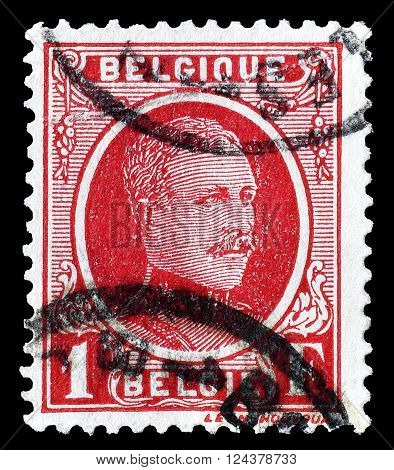 BELGIUM - CIRCA 1927 : Cancelled postage stamp printed by Belgium, that shows portrait of king Albert.