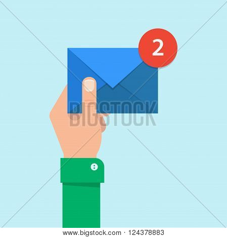 Email message concept. New incoming message sms. Hand holding envelope letter. Delivery of messages sms. Mail notification sending messages. Get mail chat message. Coming messages.