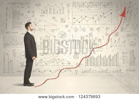 Business man climbing on red graph arrow concept on background