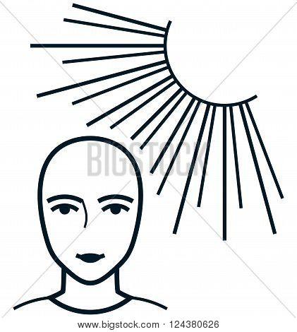 Face under sun rays light radiation vector illustration isolated