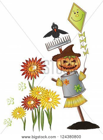 Colorful autumn, scarecrow with raven and flowers.