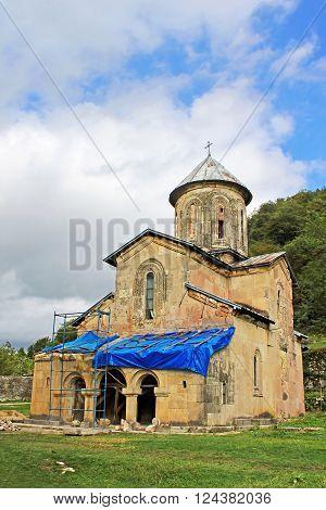One little church of old orthodox monastery Gelati near Kutaisi - Georgia. Unesco place