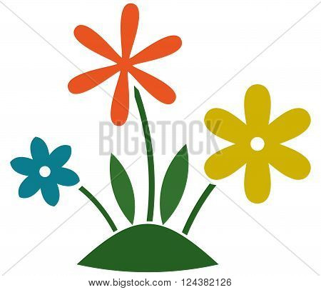 Flowers growing grass lawn. Gardening illustration isolated