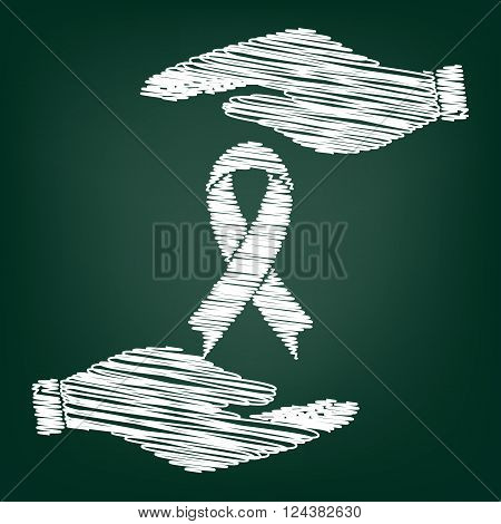 Black awareness ribbon sign. Flat style icon with scribble effect